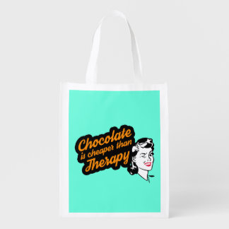 Chocolate is cheaper than therapy reusable bag