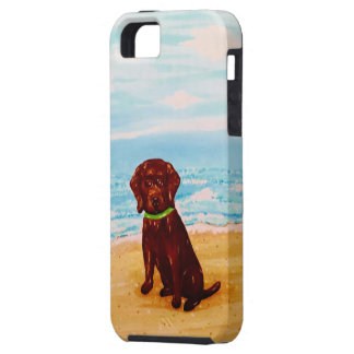 Chocolate Lab at the Beach iPhone 5 Covers