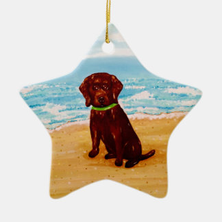 Chocolate Lab at the Beach Star Ornament