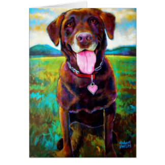 Chocolate Lab by Robert Phelps Card