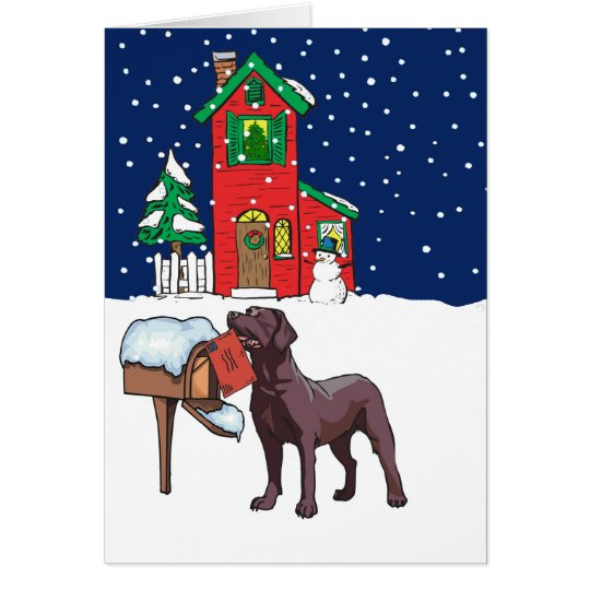 Chocolate Lab Christmas Card