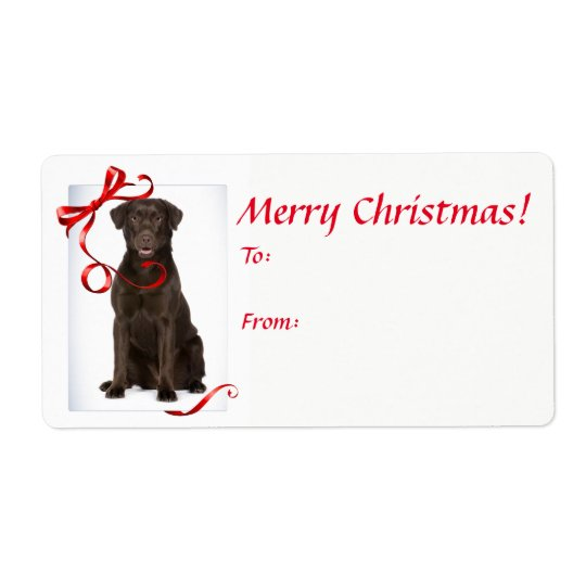 Chocolate Lab Christmas Gift Stickers
