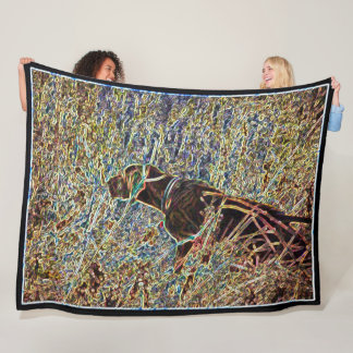 Chocolate Lab Hunting Dog Art Fleece Blanket