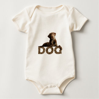 Chocolate Lab Laying Lounging on the word DOG Baby Bodysuit