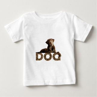 Chocolate Lab Laying Lounging on the word DOG Baby T-Shirt