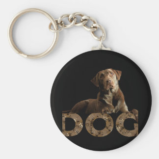 Chocolate Lab Laying Lounging on the word DOG Key Ring