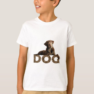 Chocolate Lab Laying Lounging on the word DOG T-Shirt