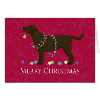 Chocolate Lab Merry Christmas Design Card