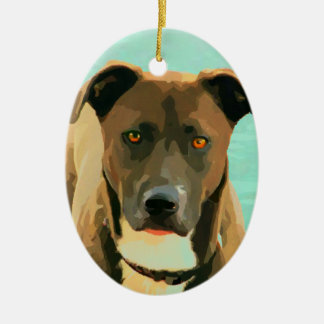 Chocolate Lab Pitbull Mix Pitador Labrabull Ceramic Ornament