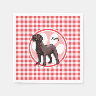 Chocolate Lab; Red and White Gingham Disposable Serviette