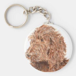Chocolate Labradoodle Key Ring