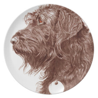 Chocolate Labradoodle Plate
