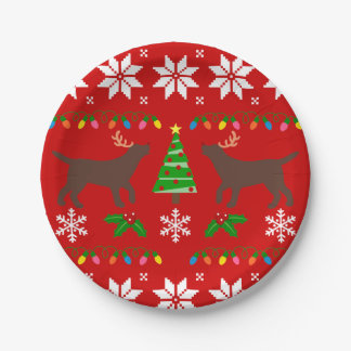 Chocolate Labrador Antlers Christmas Paper Plate