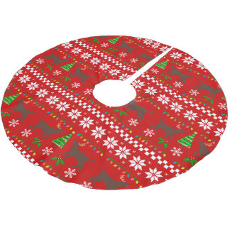 Chocolate Labrador Antlers Ugly Christmas Pattern Brushed Polyester Tree Skirt