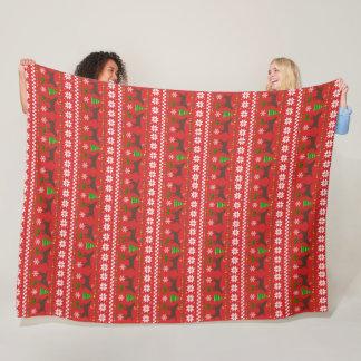 Chocolate Labrador Antlers Ugly Christmas Pattern Fleece Blanket