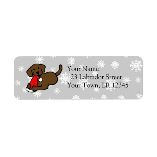 Chocolate Labrador Christmas Cartoon Return Address Label