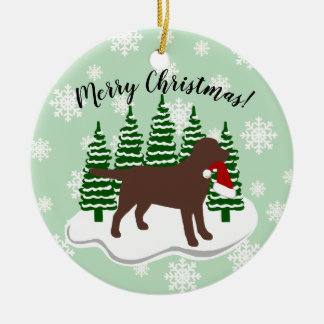 Chocolate Labrador Christmas Evergreen Snowflakes Ceramic Ornament