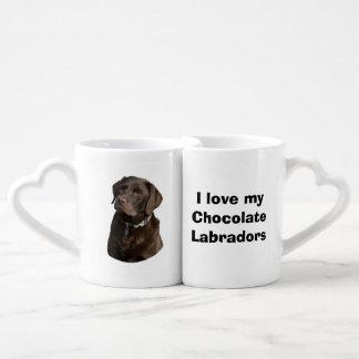 Chocolate Labrador dog photo portrait Lovers Mug Set