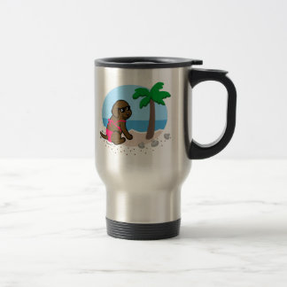 Chocolate Labrador Girl Summer Vacation Travel Mug
