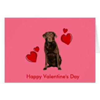 Chocolate Labrador Happy Valentine's Day Card