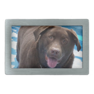 Chocolate Labrador having fun in a swimming pool Rectangular Belt Buckles