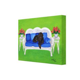 Chocolate Labrador on the Couch Artwork Canvas Print