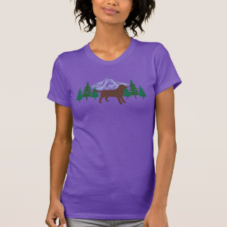 Chocolate Labrador Outline Evergreen Trees Tshirt