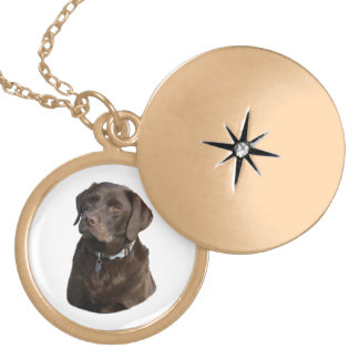 Chocolate Labrador photo portrait Gold Plated Necklace