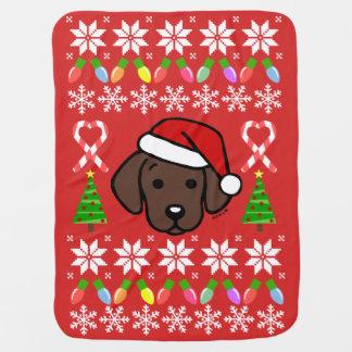 Chocolate Labrador Puppy Christmas Pattern Baby Blanket