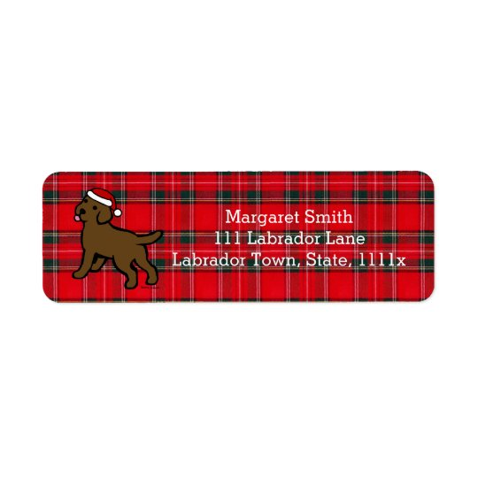 Chocolate Labrador Puppy Christmas Return Address Label