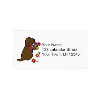 Chocolate Labrador Puppy Flower Basket Cartoon Label