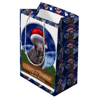 Chocolate Labrador Retriever Christmas Medium Gift Bag