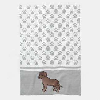 Chocolate Labrador Retriever & Grey Paws Pattern Tea Towel