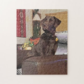 Chocolate Labrador Retriever On Chair Jigsaw Puzzle
