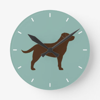 Chocolate Labrador Retriever Silhouette Round Clock
