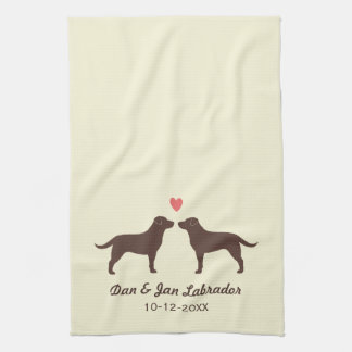 Chocolate Labrador Retrievers with Heart and Text Kitchen Towel