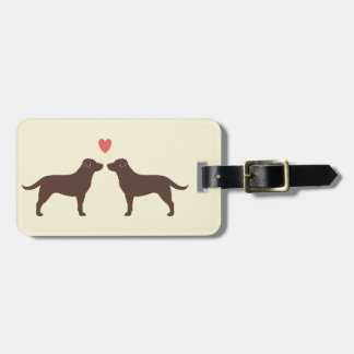 Chocolate Labrador Retrievers with Heart Luggage Tag