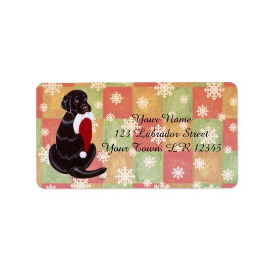 Chocolate Labrador with Santa Hat Snowflake Address Label