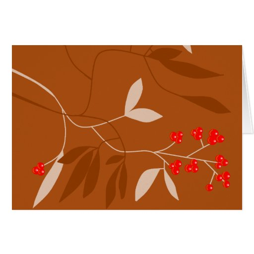chocolate leaves and red berries cards