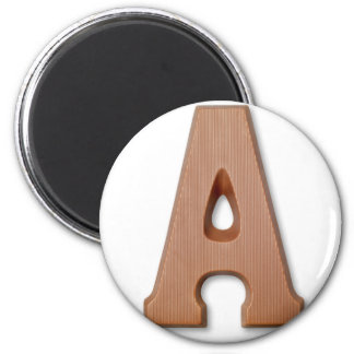 Chocolate letter A 6 Cm Round Magnet