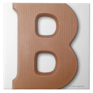 Chocolate letter b large square tile
