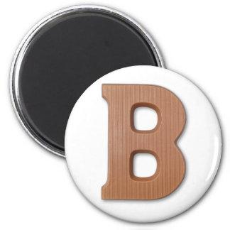 Chocolate letter B 6 Cm Round Magnet