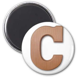 Chocolate letter C 6 Cm Round Magnet
