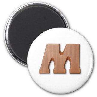 Chocolate letter M 6 Cm Round Magnet