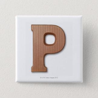Chocolate letter p 15 cm square badge