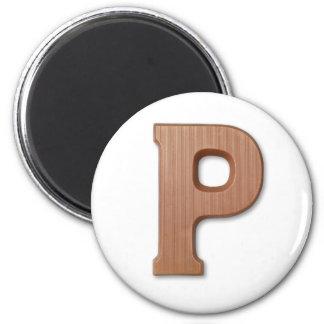 Chocolate letter P 6 Cm Round Magnet