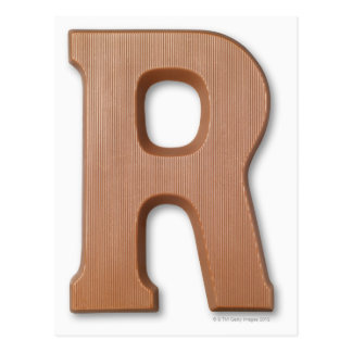 Chocolate letter r postcard