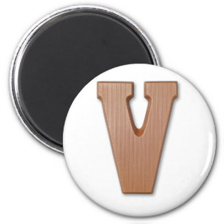 chocolate letter V 6 Cm Round Magnet