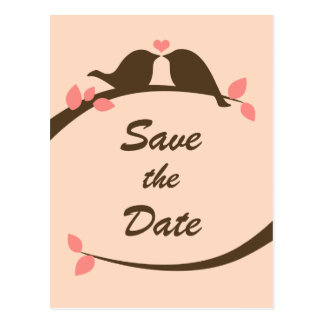 Chocolate Love Birds Save the Date Postcard