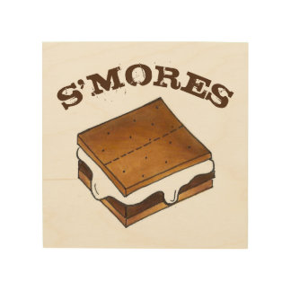 Chocolate Marshmallow Campfire S'mores Kitchen Wood Wall Decor